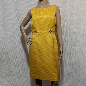 NWT Tahari ASL yellow dress with gold accent